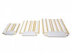 Kruisbodemzakken 160 x 270 mm 40 my goud gestreept (incl. zilveren bodemkarton)