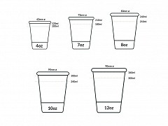 837.320 - Suikerriet/PLA koffiebekers 225 ml