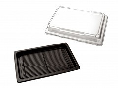 P255185 - APET trays + deksels 25,5 x 18,5 x 4,5 cm SushiTray