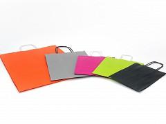 Papieren draagtassen 19 + 8 x 21 cm grijs