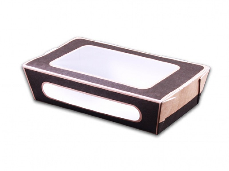 01SP2TCS - Salad pack grijs / kraft 20 x 18 x 5 cm met venster