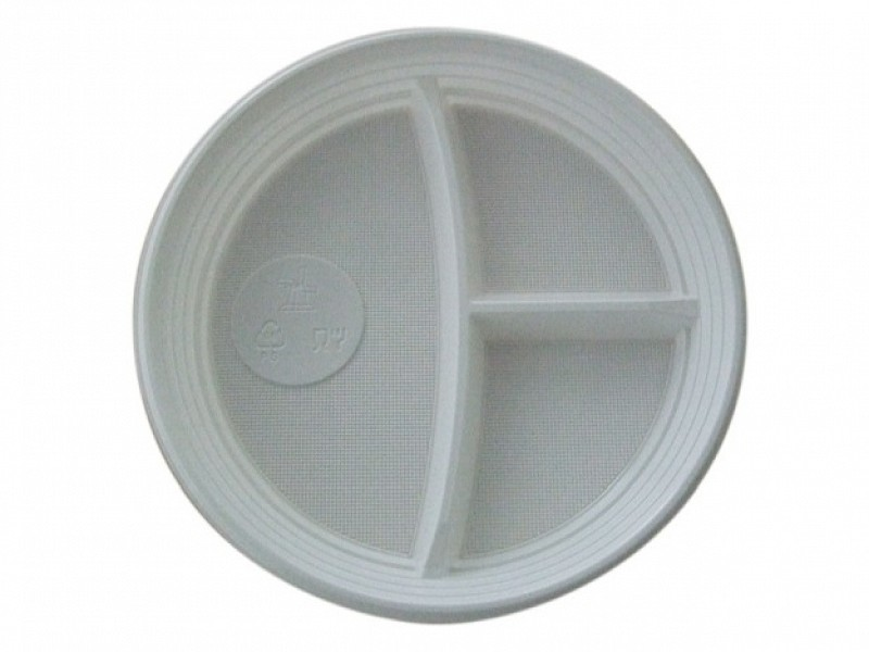 0664 - Ronde 3 vaks plastic borden Ø 22 cm