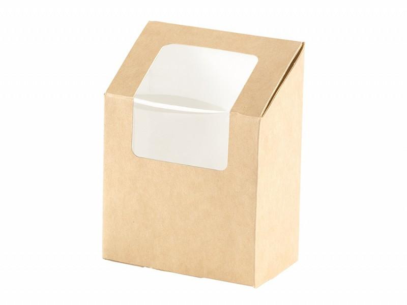159911 - Wrap Box met venster 550 ml Bruin 9 x 5 x 13 cm Duni