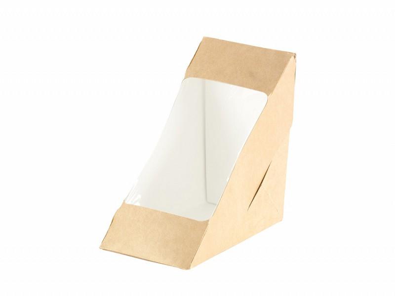 159912 - Sandwich Box met venster 590 ml Bruin 17,5 x 7,5 x 9 cm Duni
