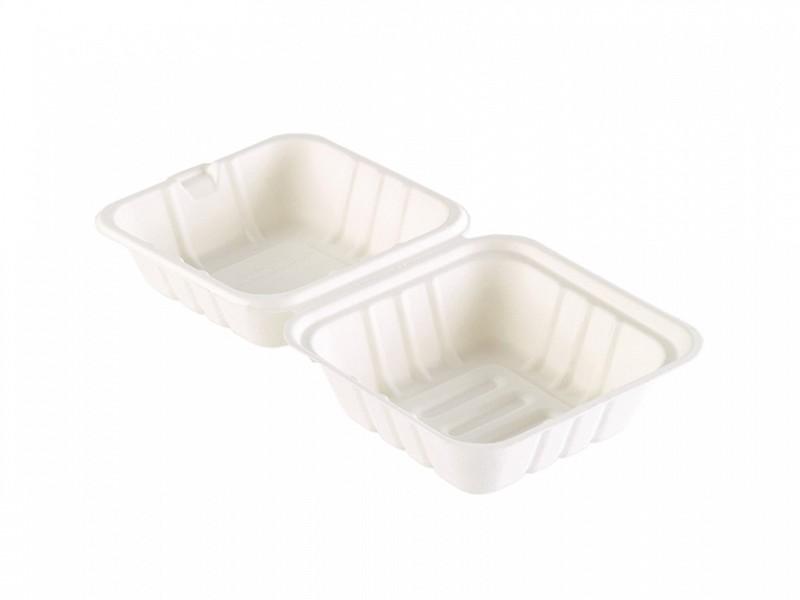 163073 - Bagasse Meal box 1 vaks 475 ml WIT 16,2 x 15,2 x 8 cm Duni