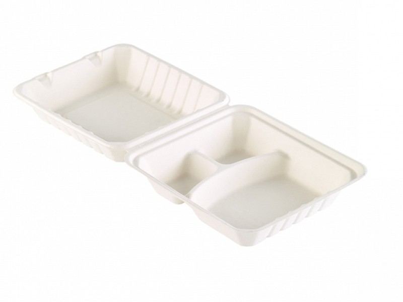 163074 - Bagasse Meal box 3 vaks 455 ml WIT 22,5 x 20,1 x 8,5 cm Duni