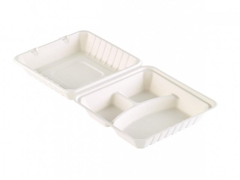 163077 - Bagasse Meal box 3 vaks 590 ml WIT 23,6 x 23,1 x 8,1 cm Duni