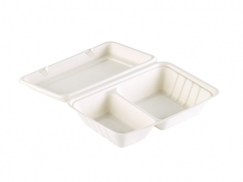 163078 - Bagasse Meal box 2 vaks 770 ml WIT 24,1 x 16,3 x 6,5 cm Duni