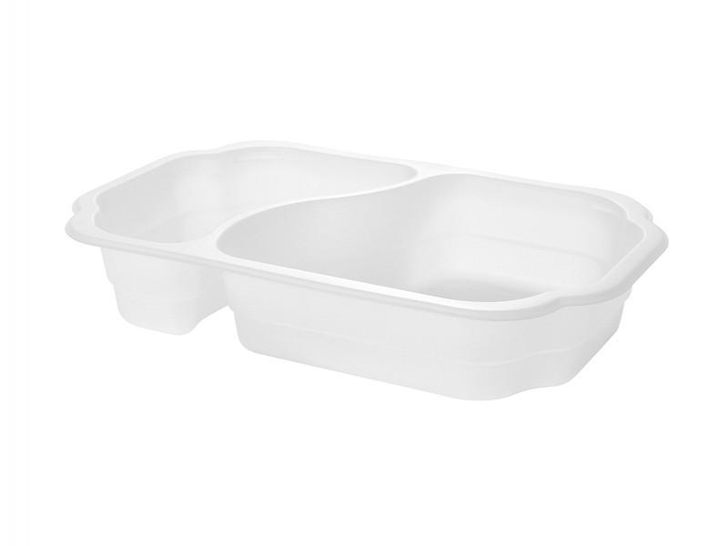 171150 - Take Away Tray 2 vaks Bio Plastic Wit Duni