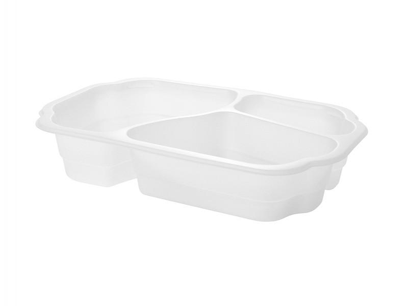 171151 - Take Away Tray 3 vaks Bio Plastic Wit Duni