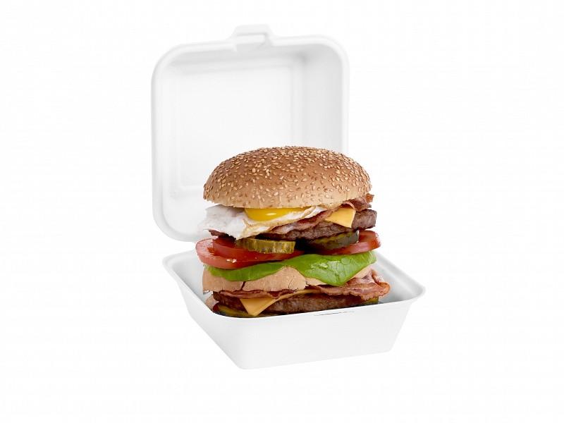 313.0007 - Suikerriet hamburgerboxen 15,5 x 15,5 x 7,7 cm