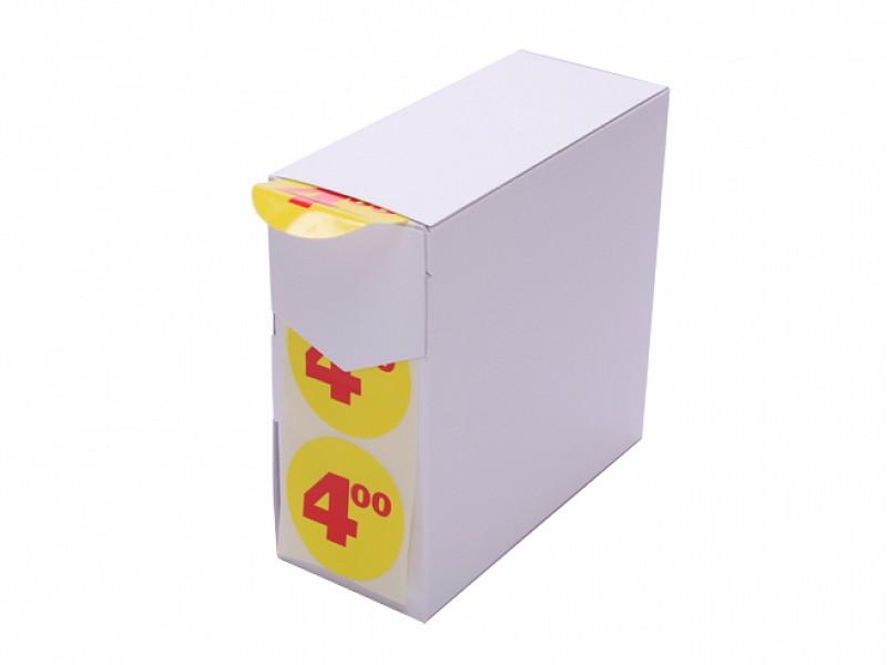 6300909 - Etiketten Ø 55 mm Geel/Rood Bedrukt 4,00