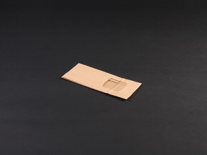 8050190 - Blokbodemzak venster papier 80+50x190mm