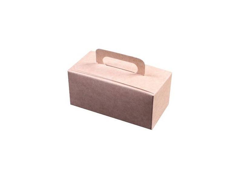 D400489 - Kraft kleurige bonbondoosjes met handgreep 250 gram