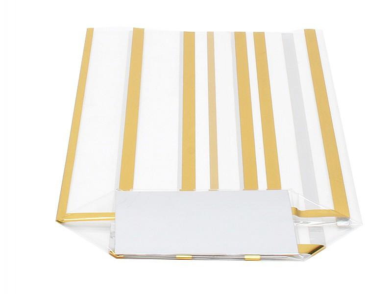 D299442 - Kruisbodemzakken 120 x 225 mm 40 my goud gestreept (incl. zilveren bodemkarton)