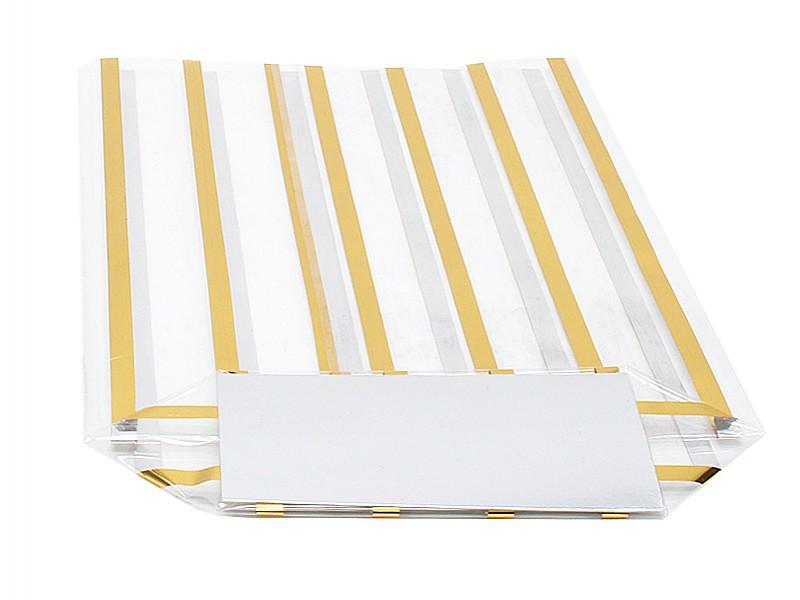 D299444 - Kruisbodemzakken 160 x 270 mm 40 my goud gestreept (incl. zilveren bodemkarton)