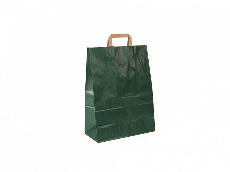 5483 - Papieren draagtassen 22 + 11 x 36 cm groen