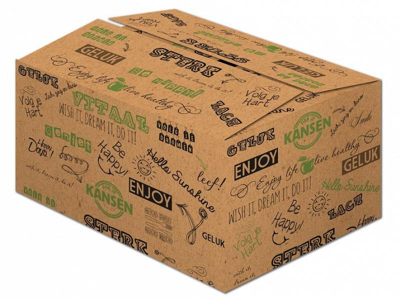 X472C130 - Geschenkdoos HAPPY groen 39 x 29 x 13 cm