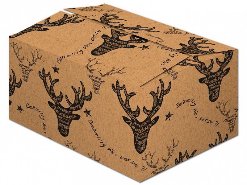 X468A140 - Kerstpakketdoos HERT Zwart Kraft 31 x 20 x 14 cm