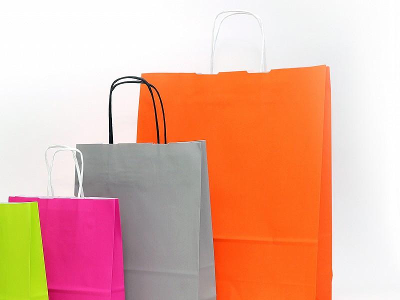 D400473 - Papieren draagtassen 23 + 10 x 29.5 cm oranje