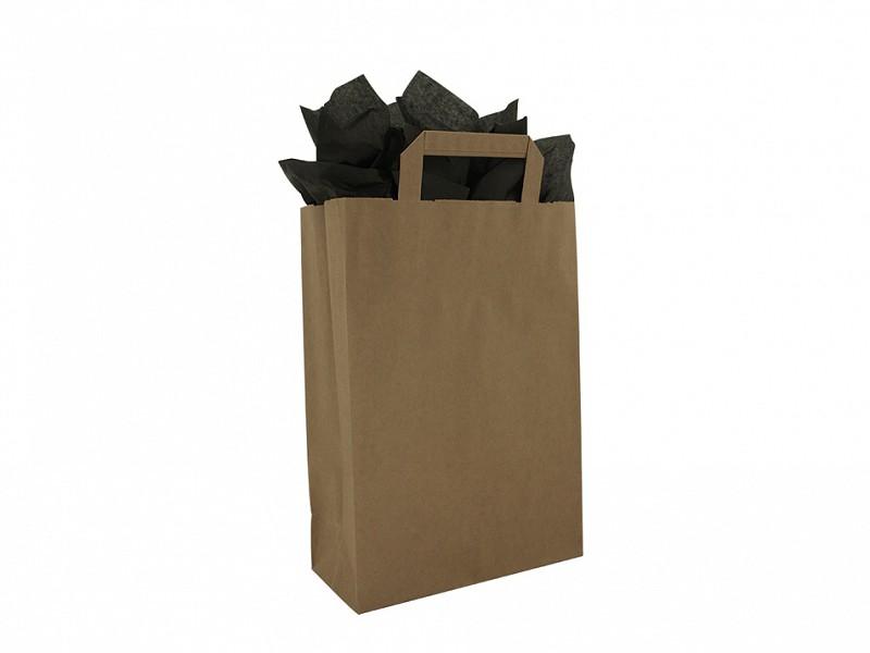 F0005 - Papieren draagtassen 26 x 37 cm Bruin Platte Handgreep