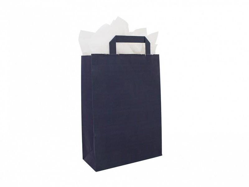 F0021 - Papieren draagtassen 22 x 31 cm Donkerblauw Platte Handgreep
