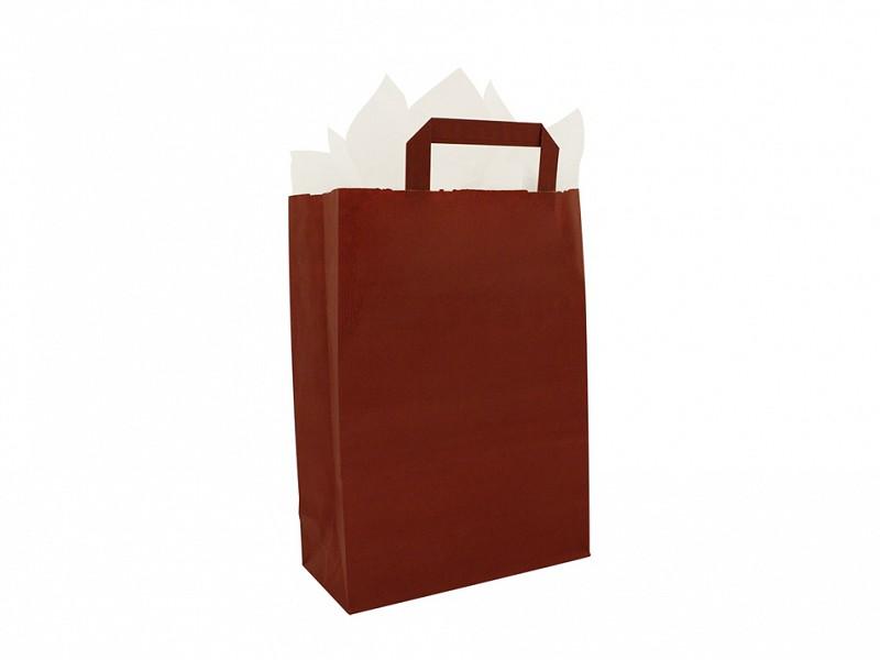 F0017 - Papieren draagtassen 22 x 31 cm Bordeaux Platte Handgreep