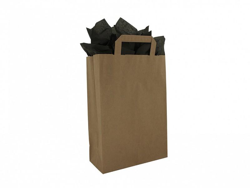 F0004 - Papieren draagtassen 22 x 31 cm Bruin Platte Handgreep