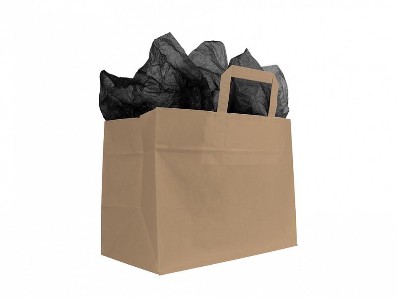 F0054 - Papieren draagtassen 32 x 27 cm Bruin Take-away Bag Platte Handgreep
