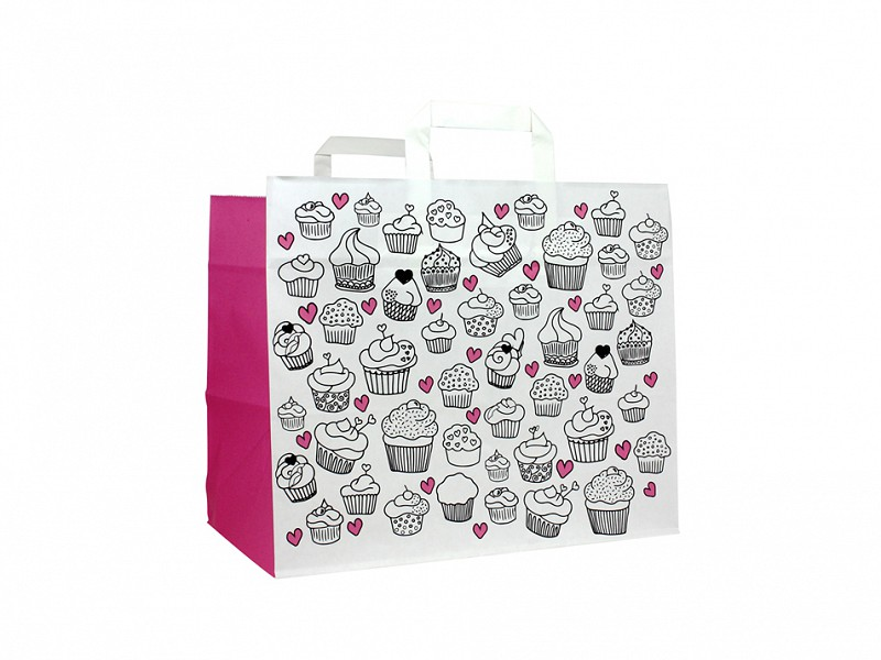 F0101 - Papieren draagtassen 32 x 27 cm Cupcake Take-away Bag Platte Handgreep