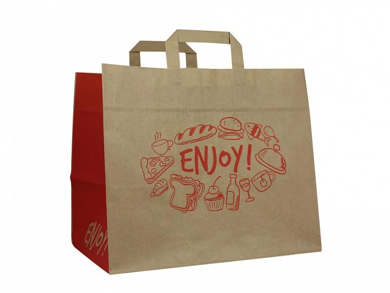 F0103 - Papieren draagtassen 32 x 27 cm Enjoy Take-away bag Platte Handgreep