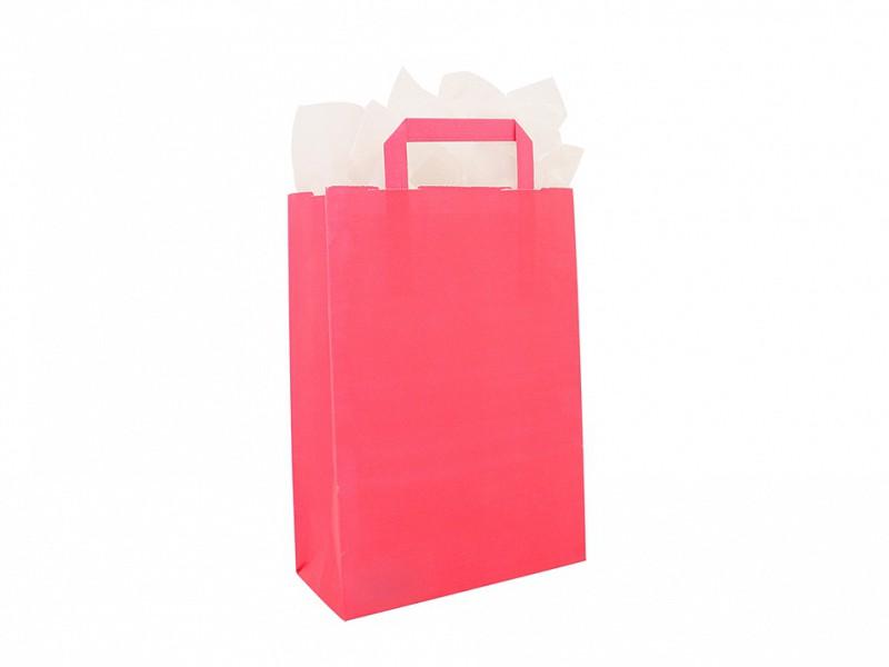 F0015 - Papieren draagtassen 26 x 37 cm Roze Platte Handgreep