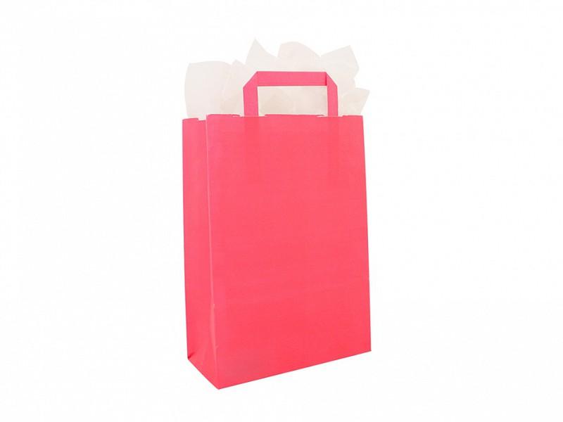 F0016 - Papieren draagtassen 32 x 43 cm Roze Platte Handgreep