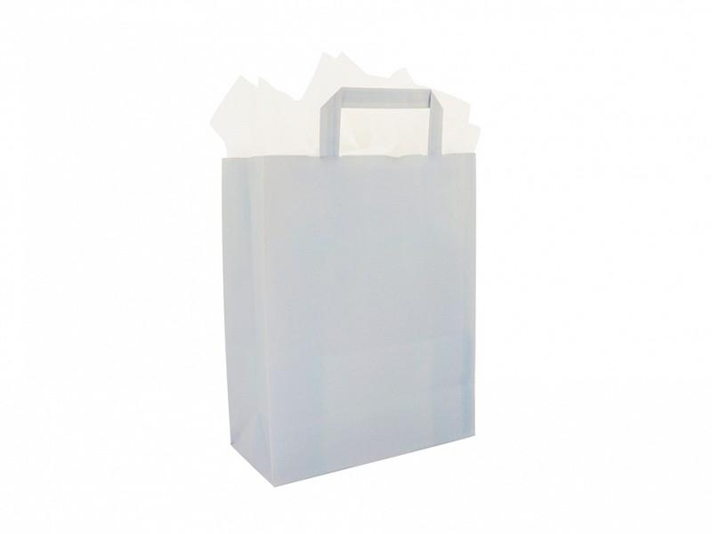 F0025 - Papieren draagtassen 26 x 37 cm Hemelsblauw Platte Handgreep