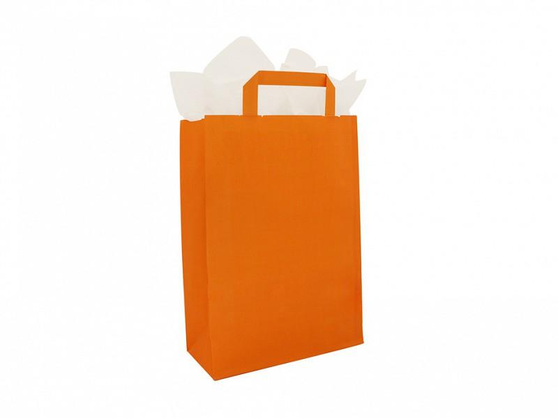 F0028 - Papieren draagtassen 22 x 31 cm Oranje Platte Handgreep