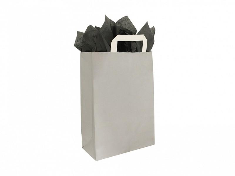 F0010 - Papieren draagtassen 22 x 31 cm Zilver Platte Handgreep