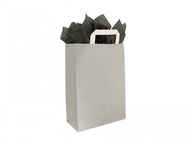 F0011 - Papieren draagtassen 32 x 43 cm Zilver Platte Handgreep